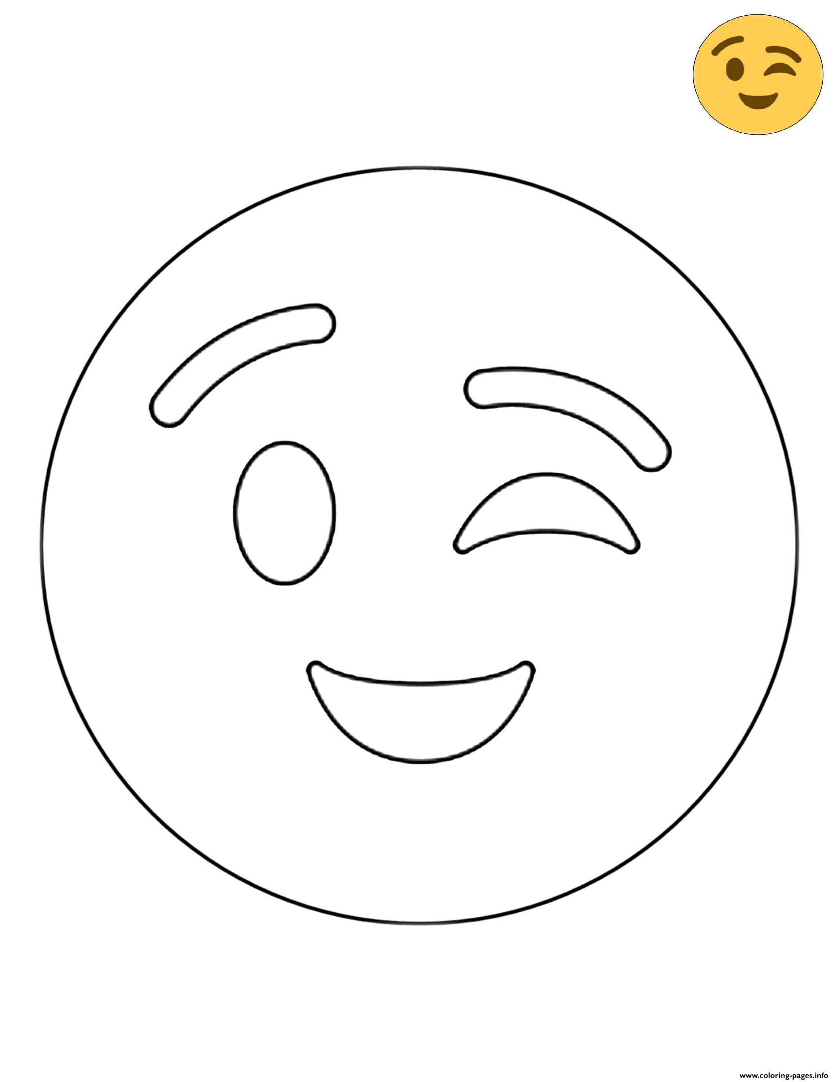 Twitter Wink Emoji coloring pages