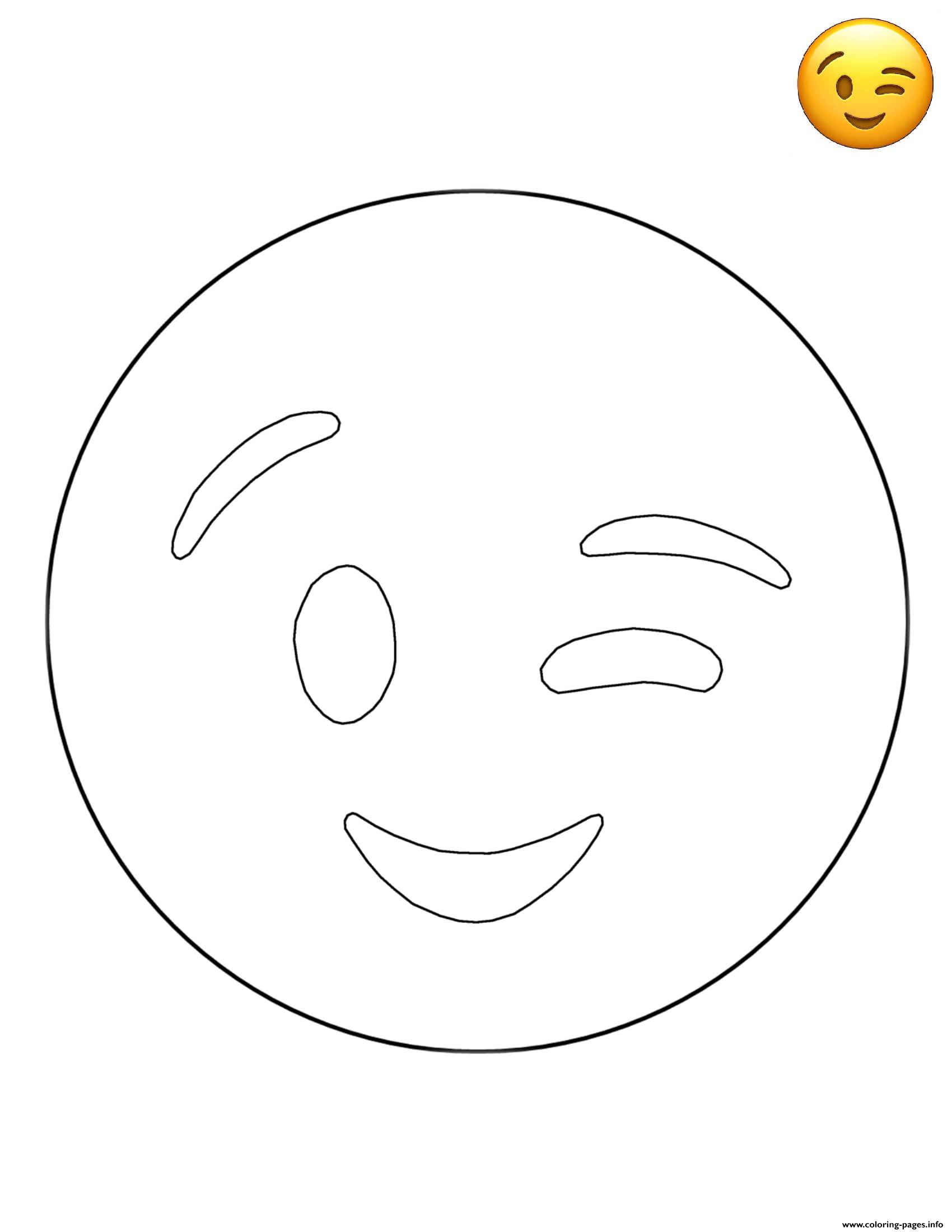 Emoji Wink Free Sheets coloring pages