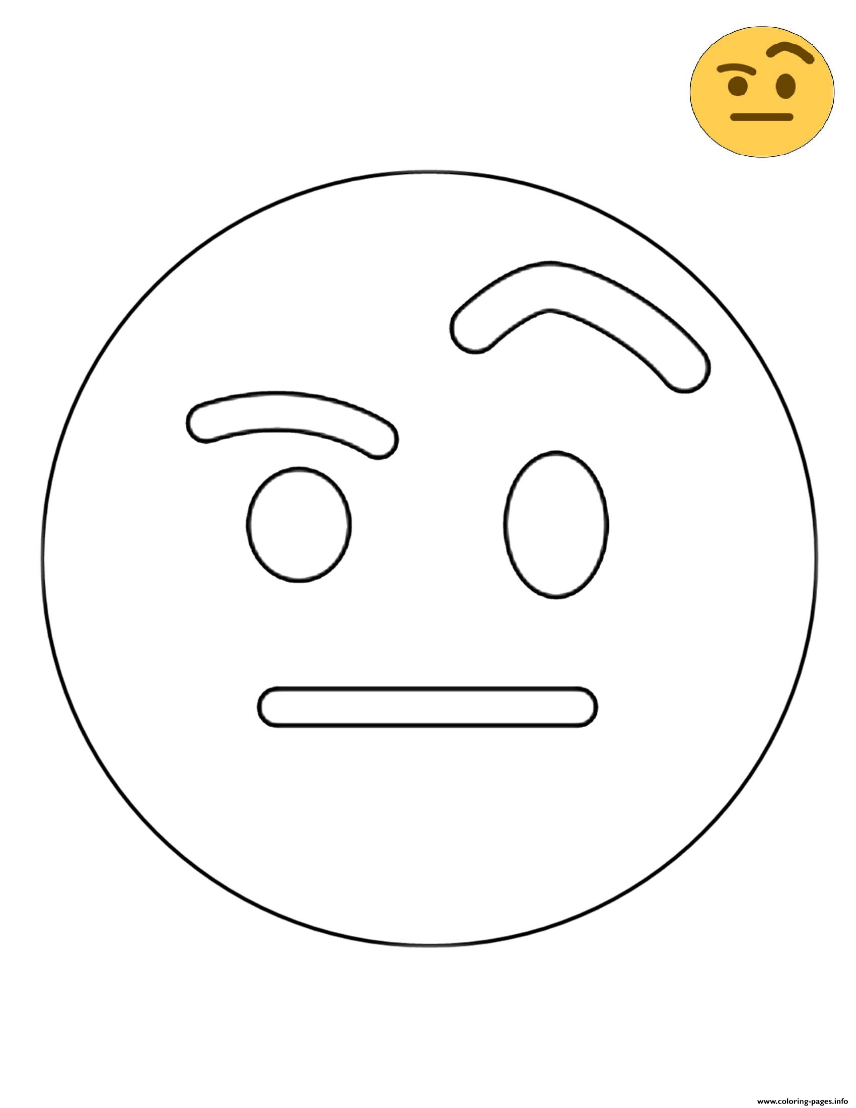 Twitter Raised Eyebrow Emoji coloring pages