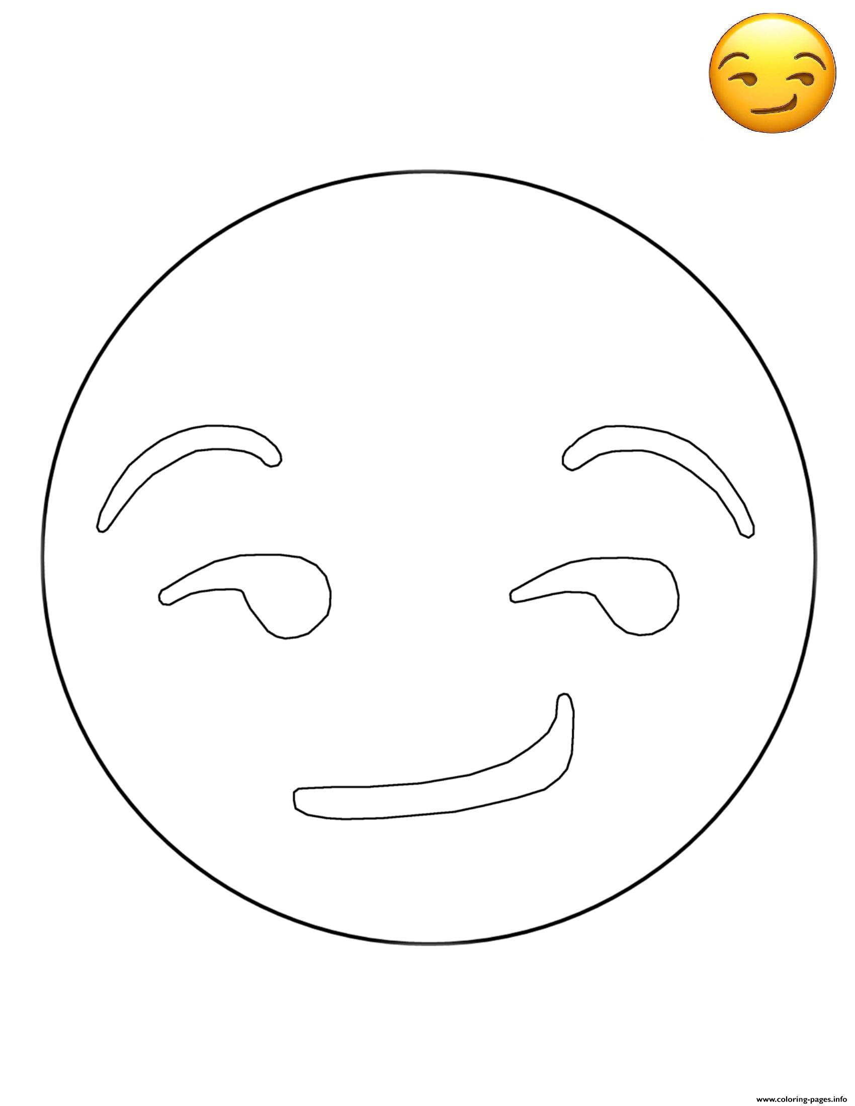 Emoji Smirk Free Sheets coloring pages
