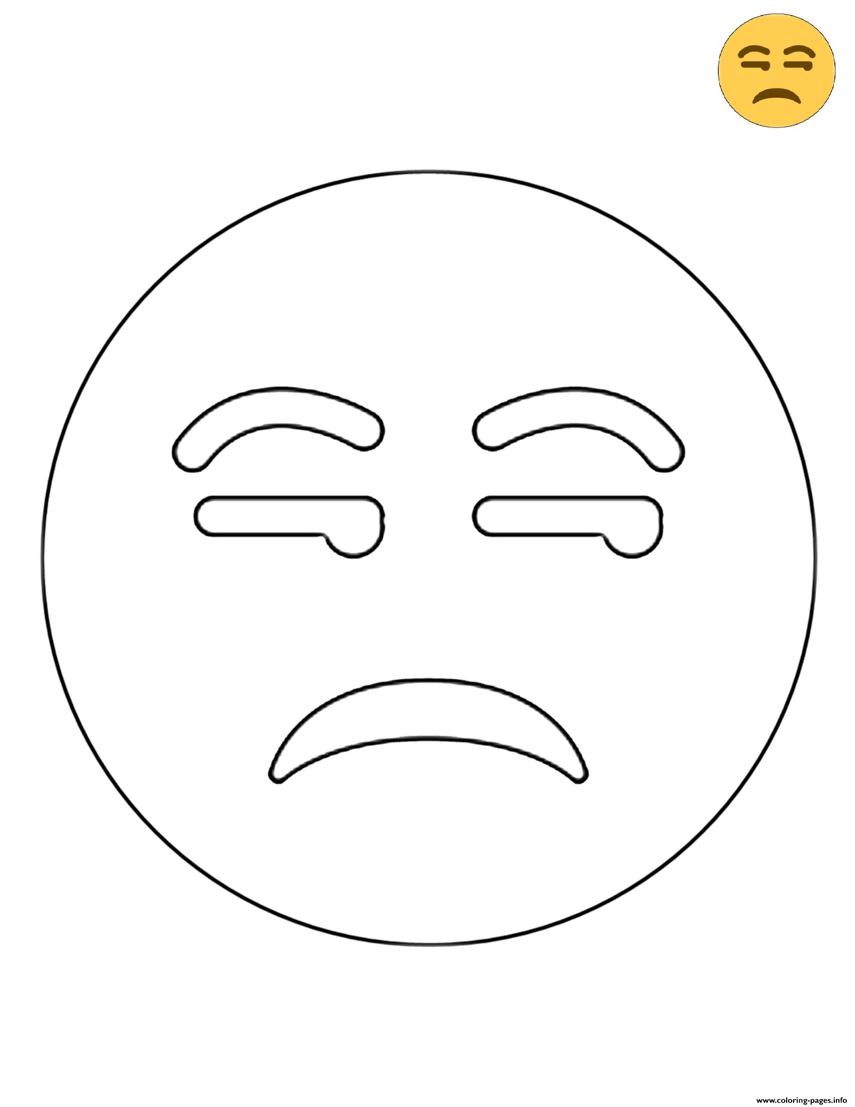 Twitter Unamused Face Emoji coloring pages