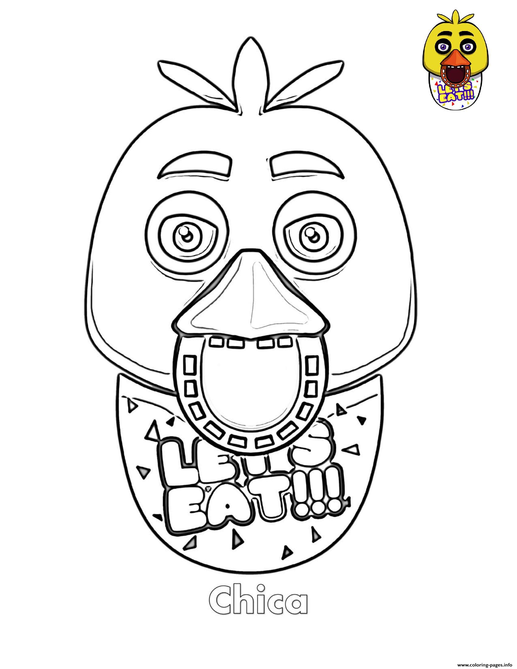 Chica Face FNAF Coloring Pages Printable