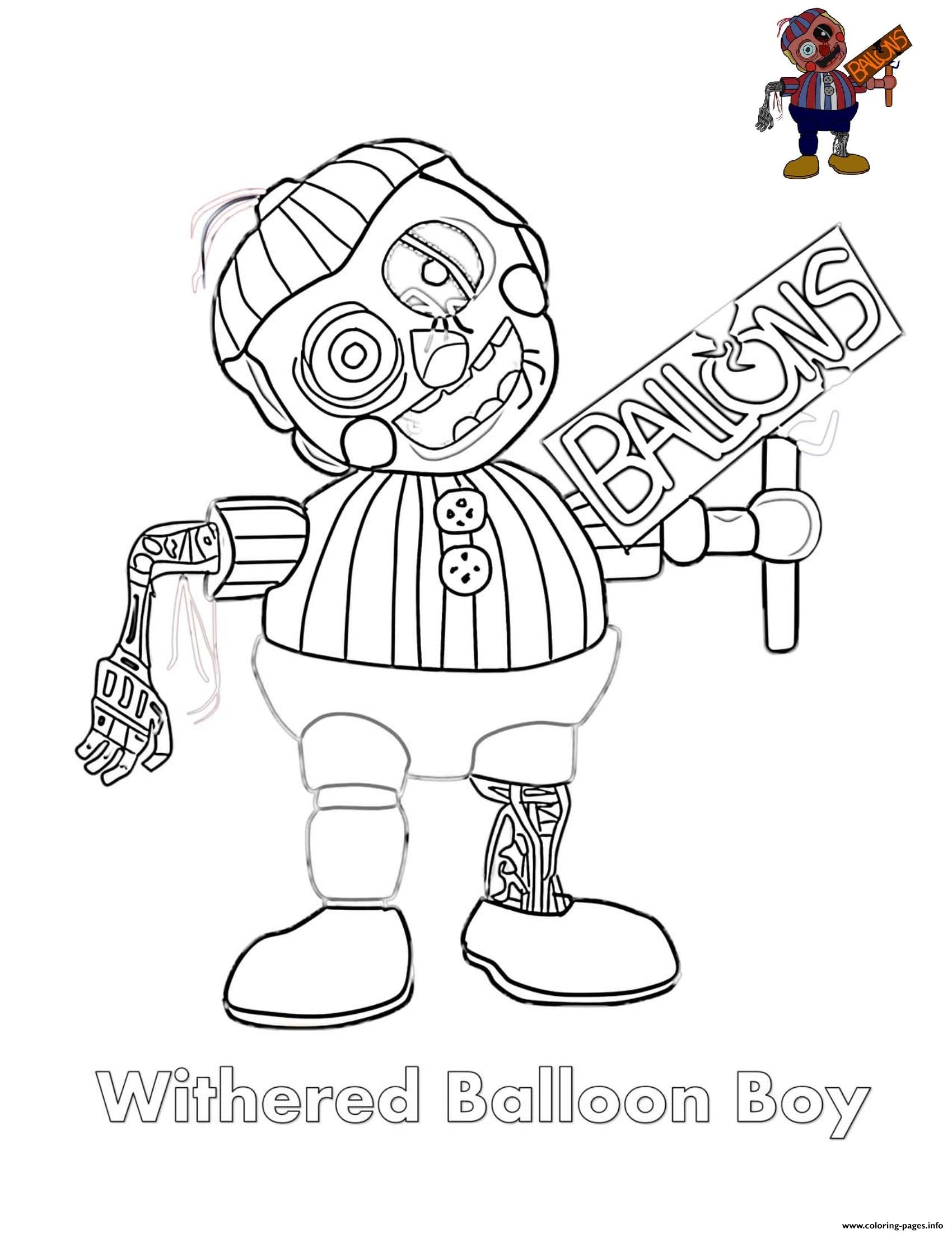 Withered Balloon Boy FNAF Coloring Pages Printable