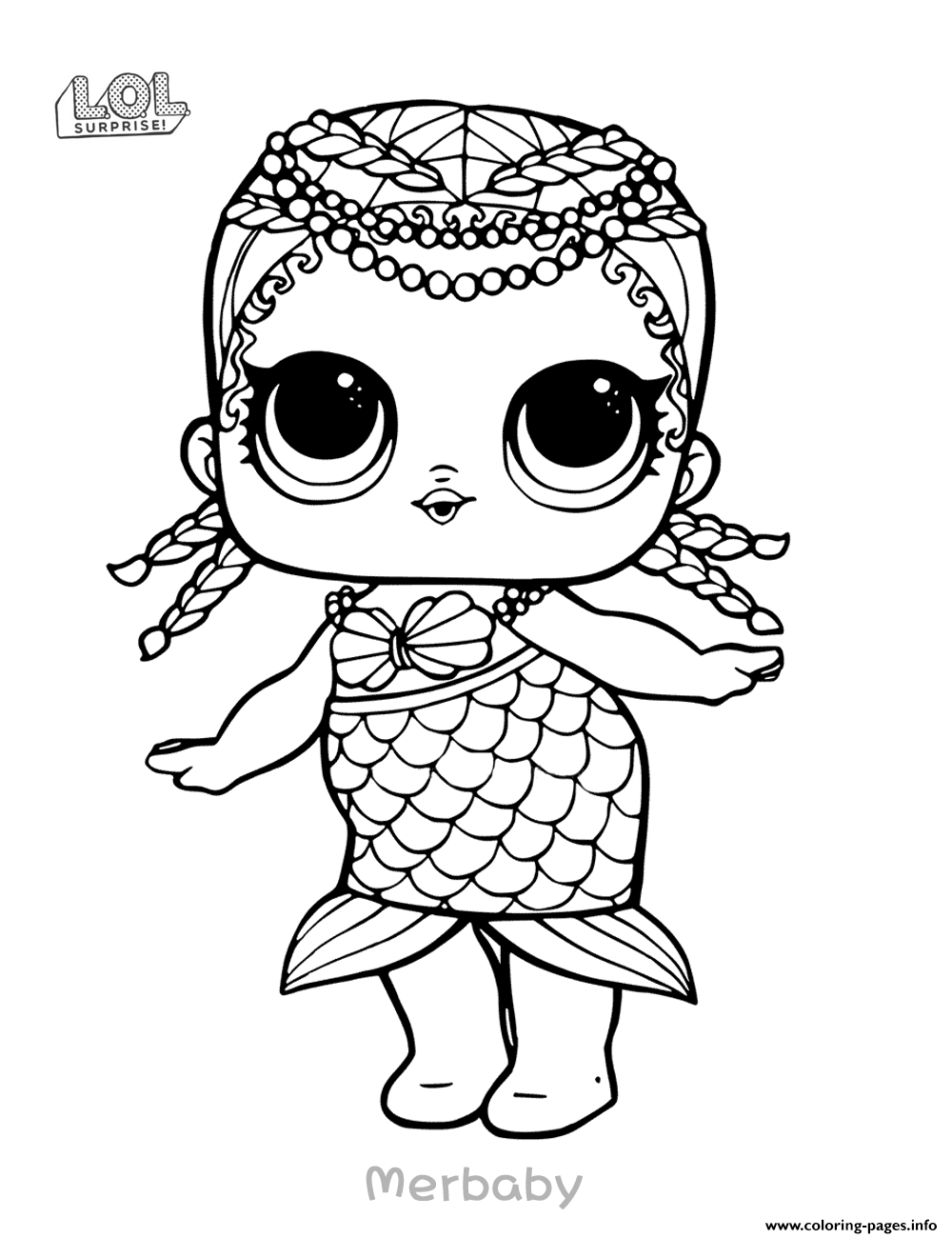 Mermaid lol surprise doll merbaby coloring pages printable
