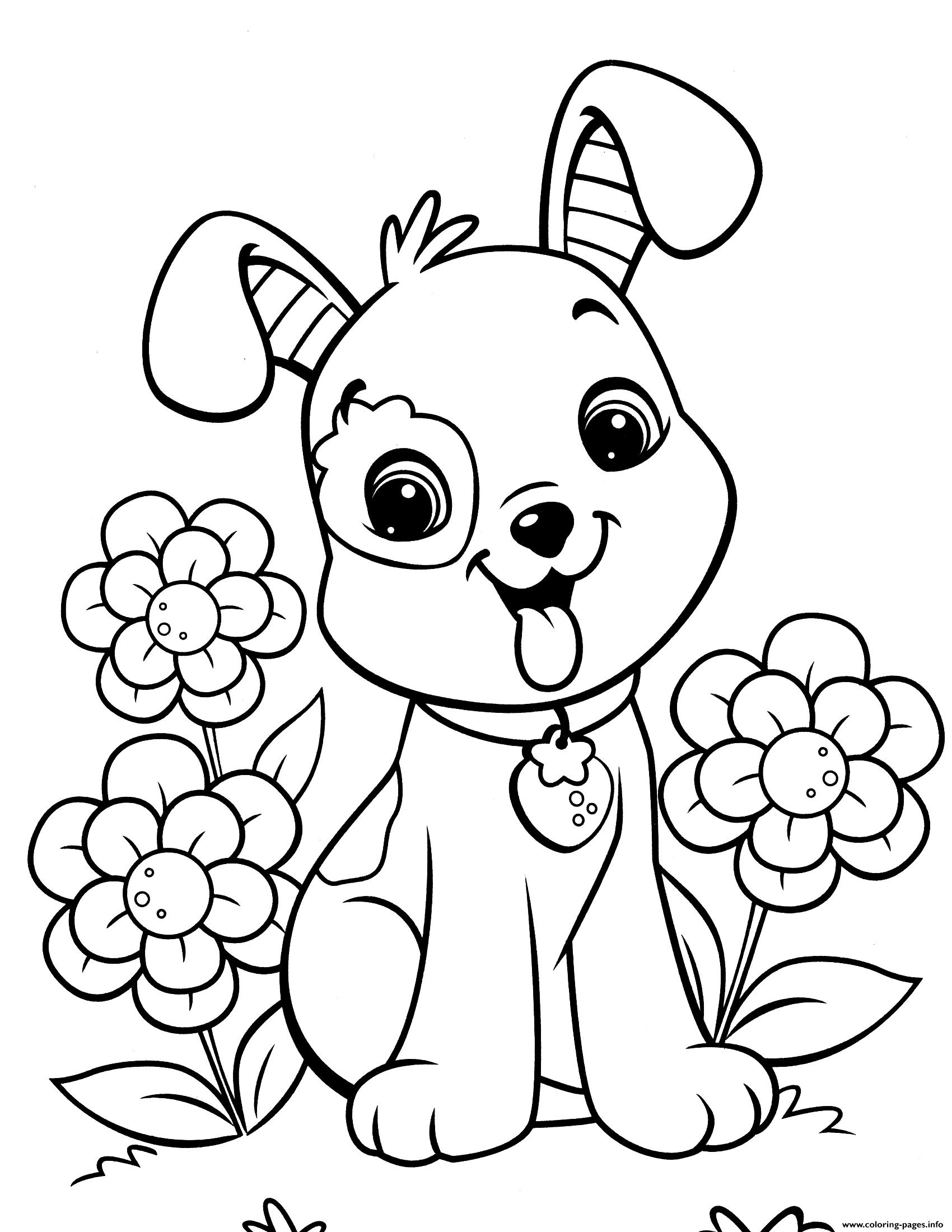 Cute Puppy Best For Kids coloring pages