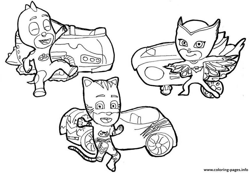 image relating to Pj Masks Printable Coloring Pages referred to as Catboy Owlette And Gekko Pj Masks Vehicles Disney Coloring Internet pages
