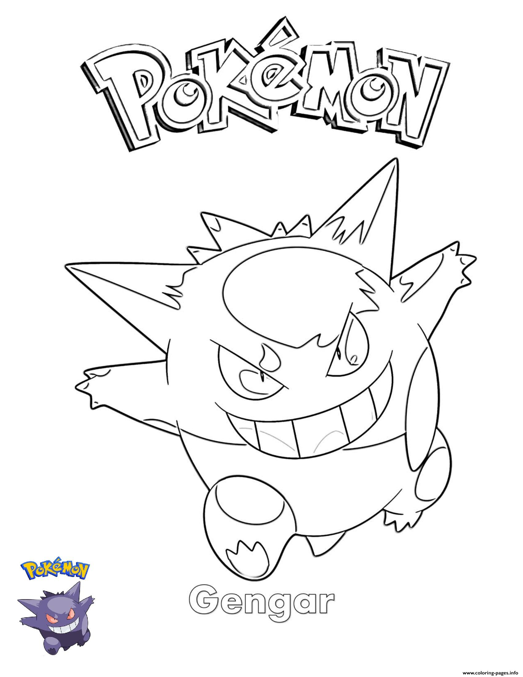Gengar Pokemon coloring pages