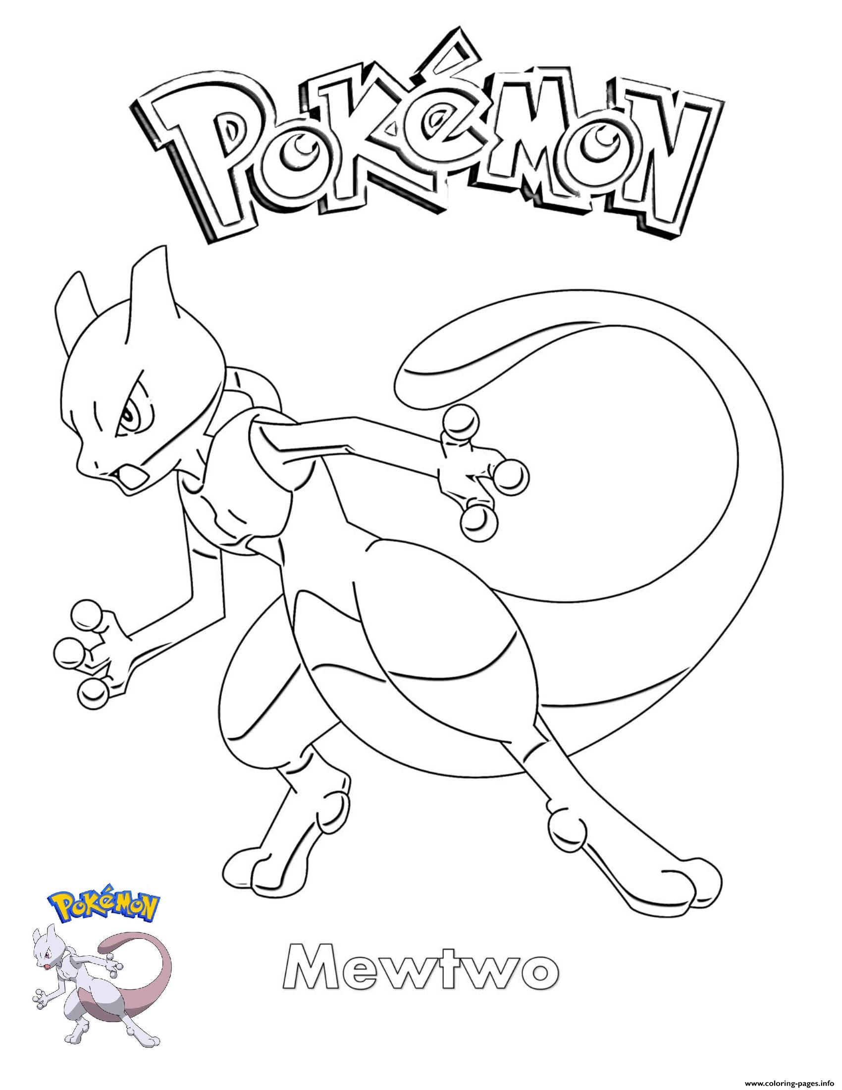 Mewtwo Pokemon coloring pages