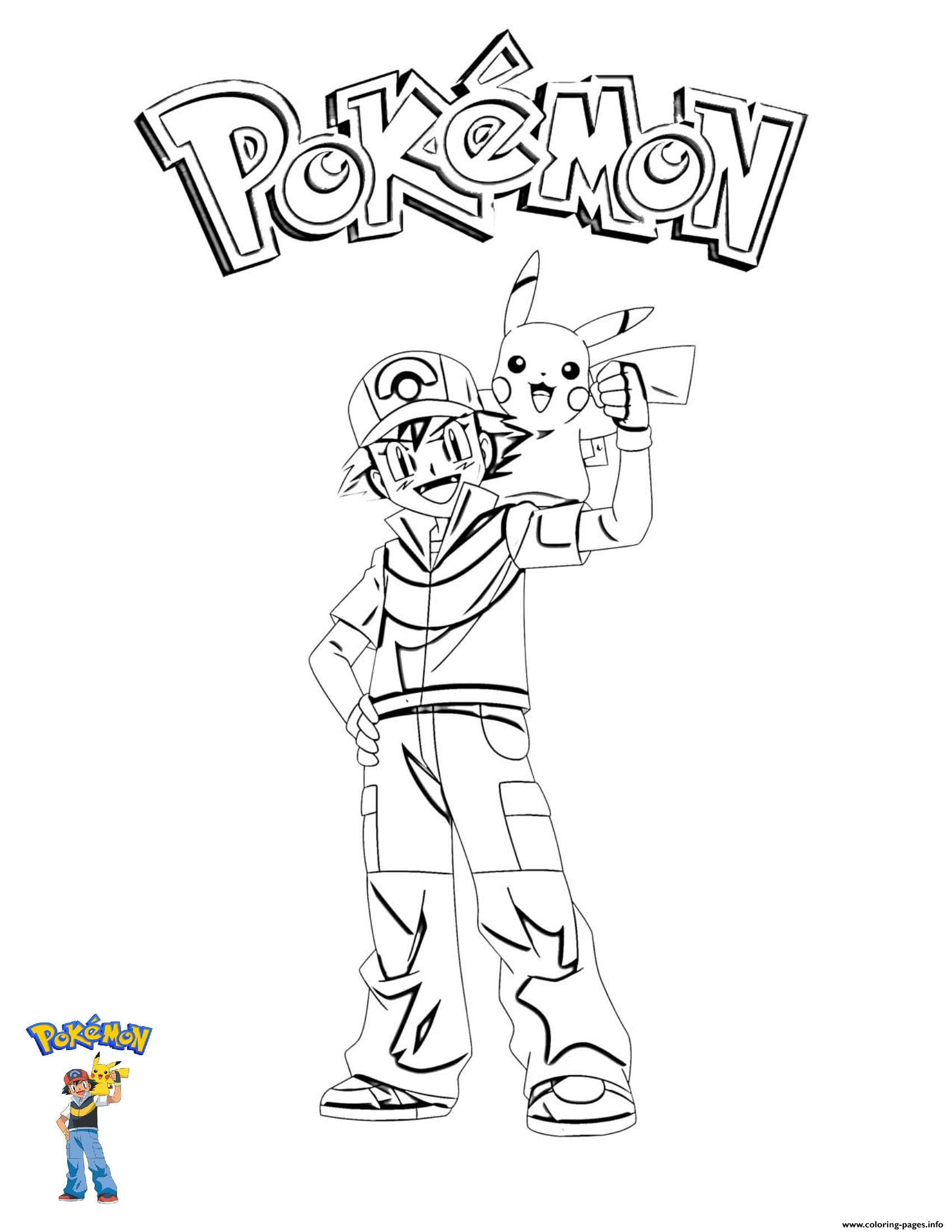 3 Ash And Pikachu Pokemon coloring pages