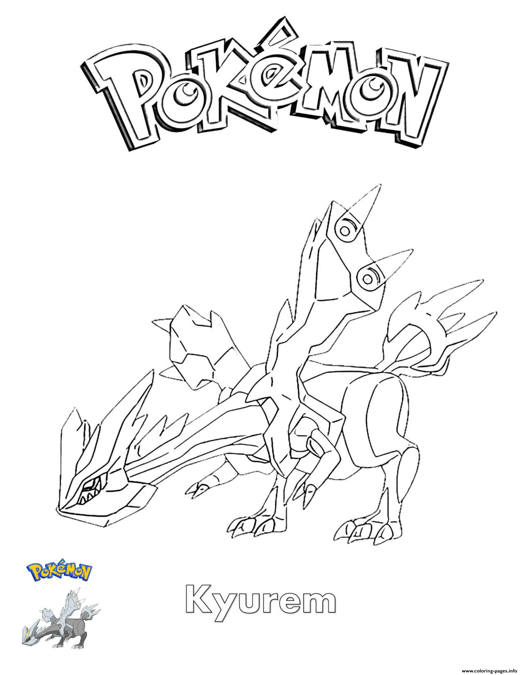 Kyurem Pokemon coloring pages