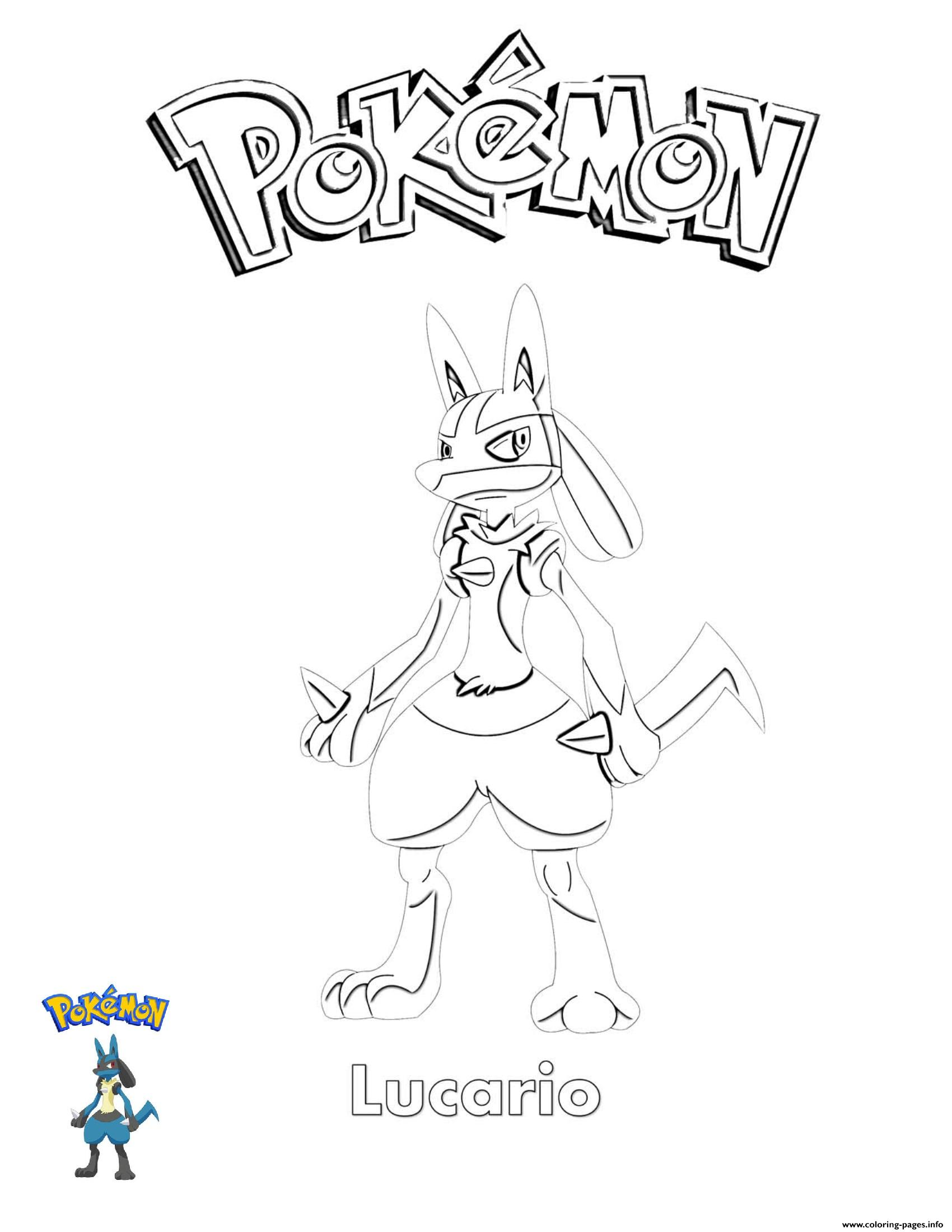 Lucario Pokemon coloring pages
