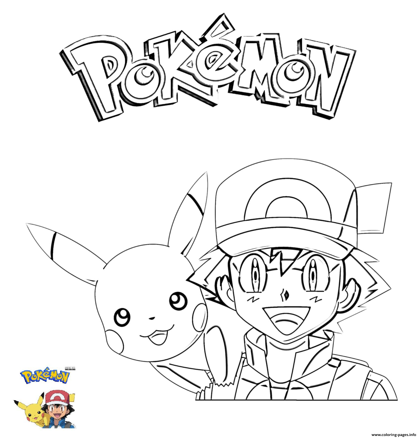 image regarding Pokemon Printable named 2 Ash And Pikachu Pokemon Coloring Web pages Printable
