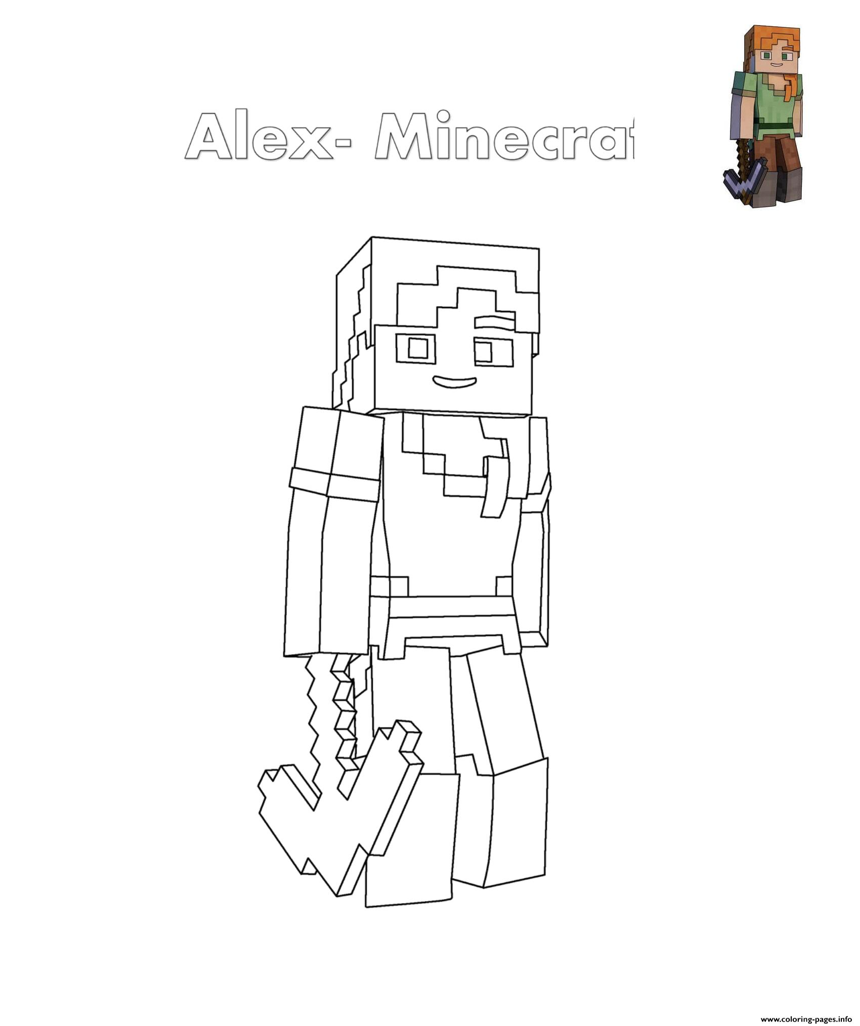 Alex Minecraft Coloring Pages Printable