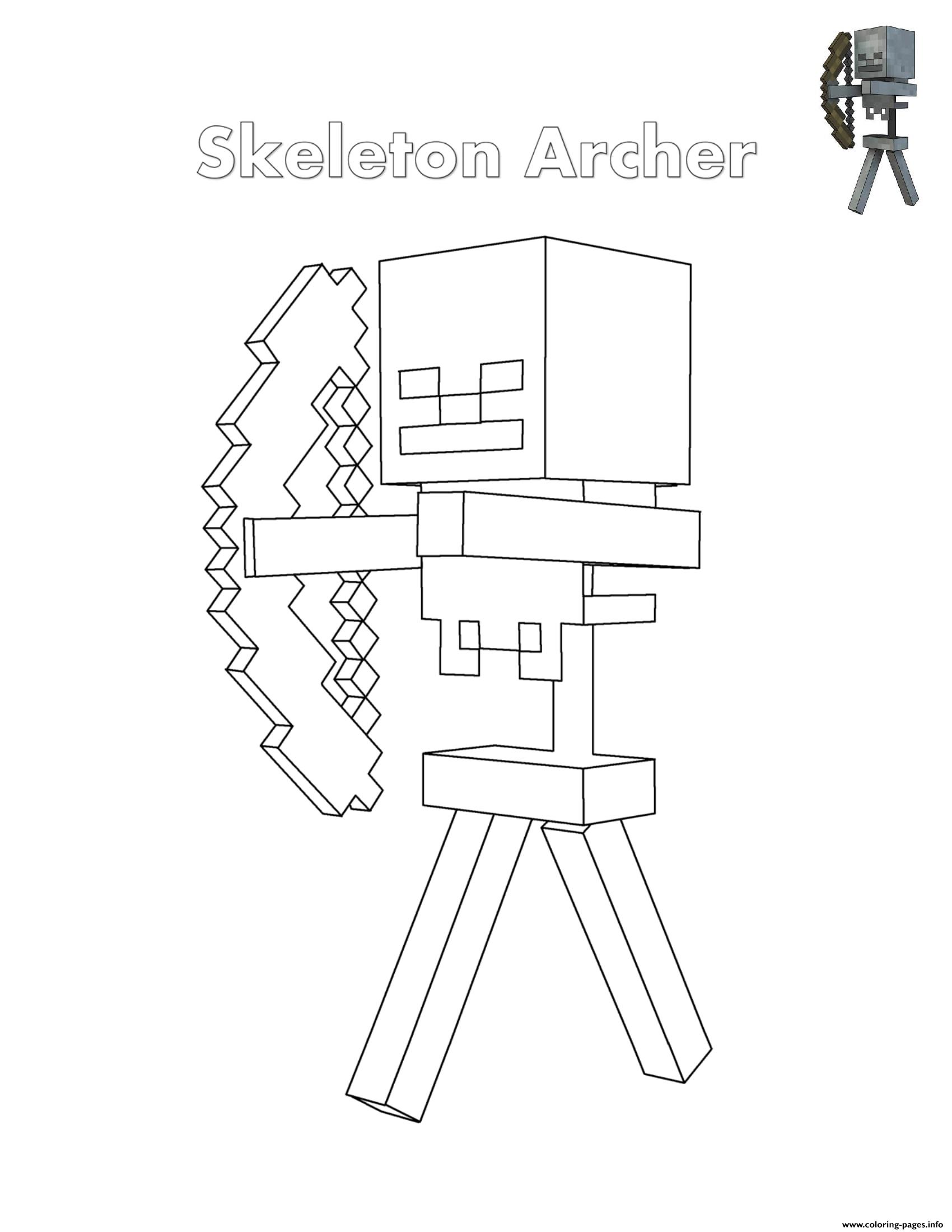 photo regarding Printable Minecraft Coloring Pages identified as Skeleton Archer Minecraft Coloring Webpages Printable