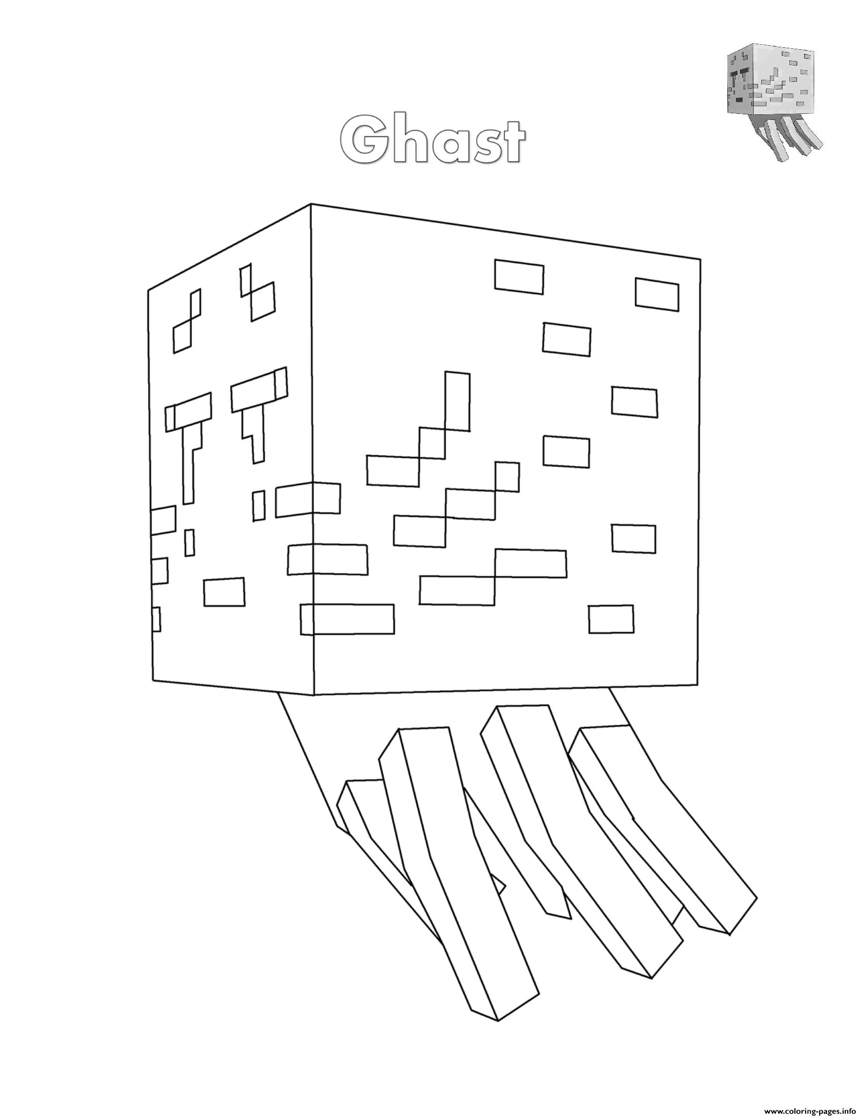 Ghast Minecraft Coloring Pages Printable