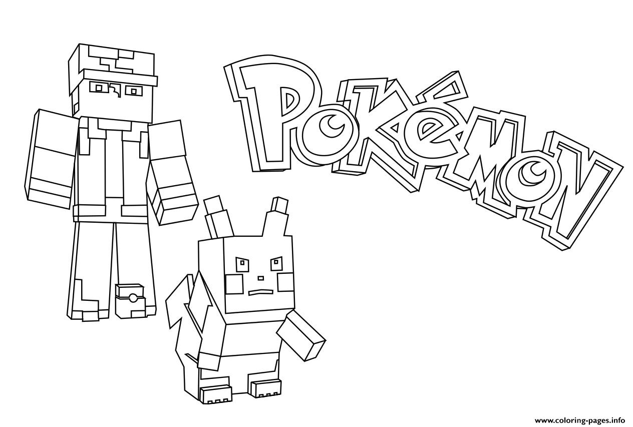 Minecraft Pokemon Coloring Pages