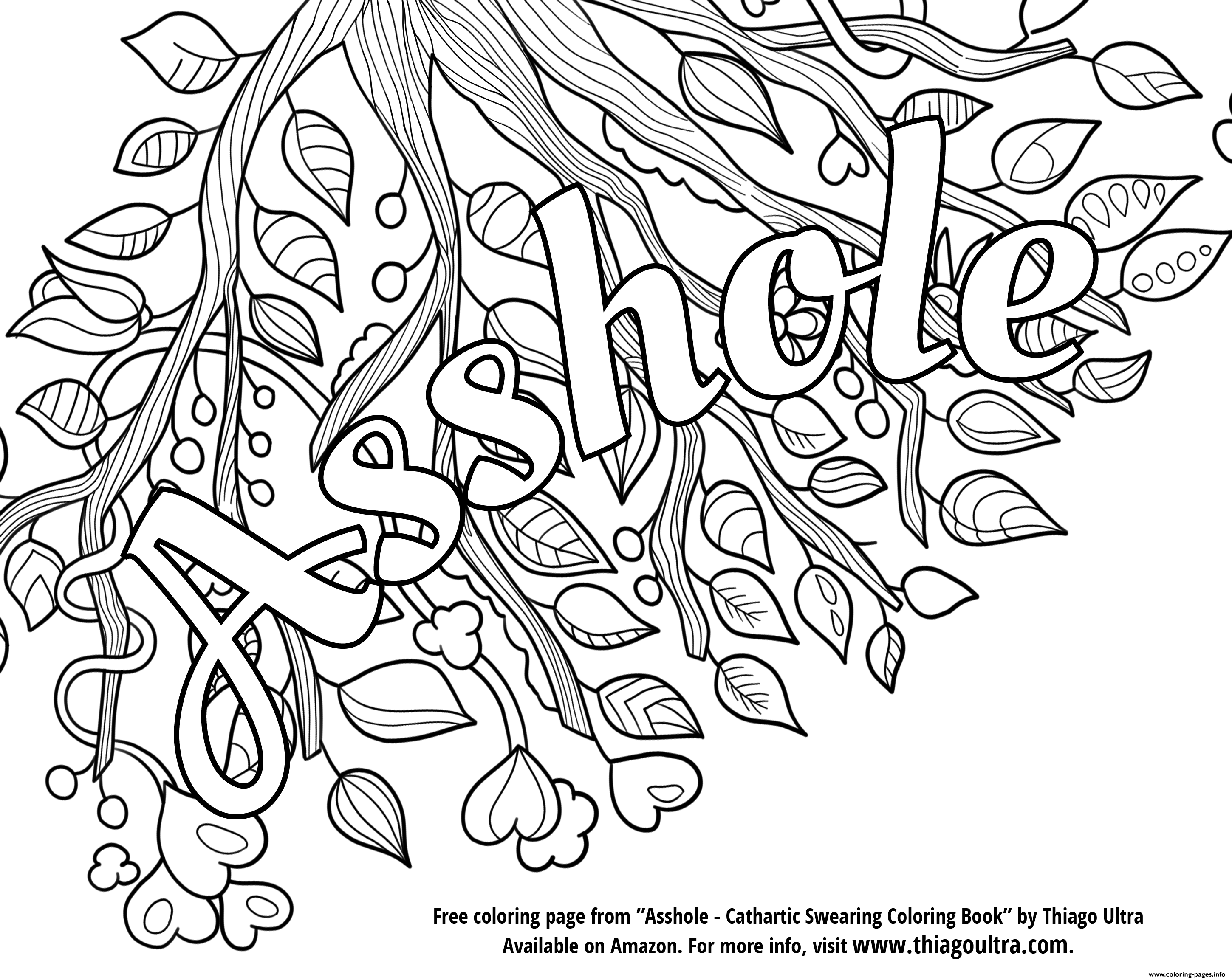 - Asshole Swear Word Coloring Pages Printable