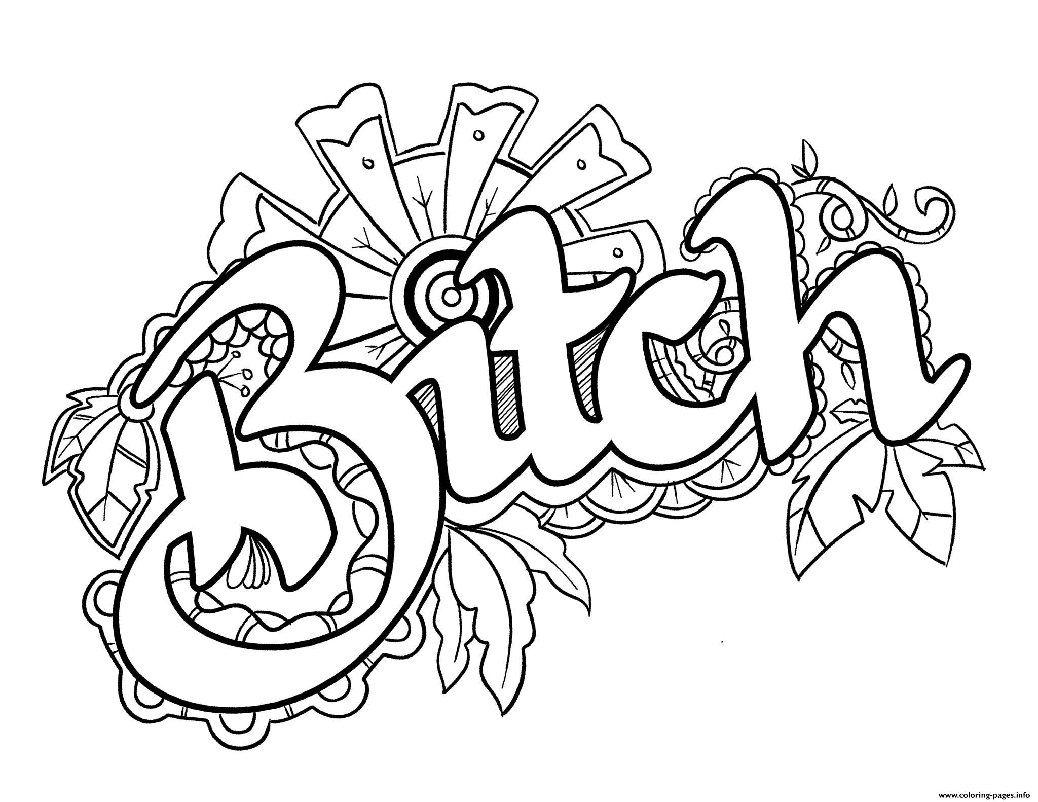 Bitch Swear Word Coloring Pages