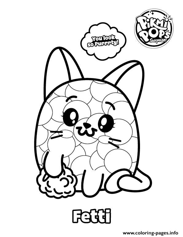Pikmi Pops Coloring Cat Fetti Coloring Pages Printable