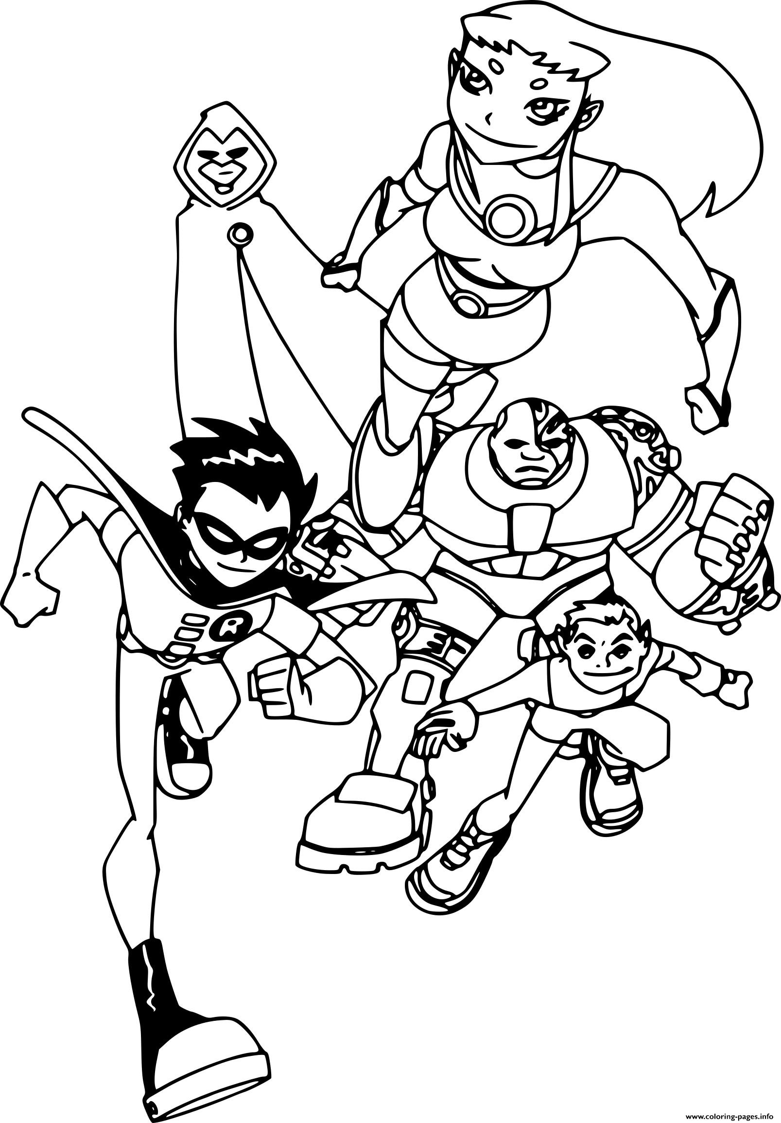Teen Titans Team Running Coloring Pages Printable