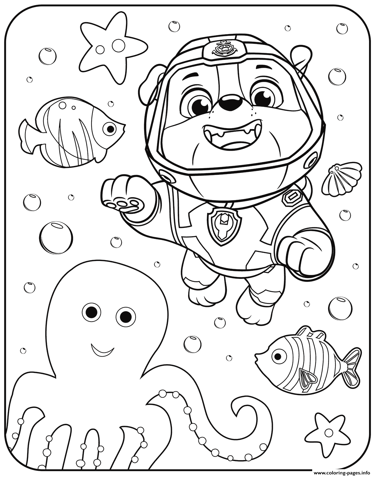 PAW Patrol Rubble Underwater Coloring