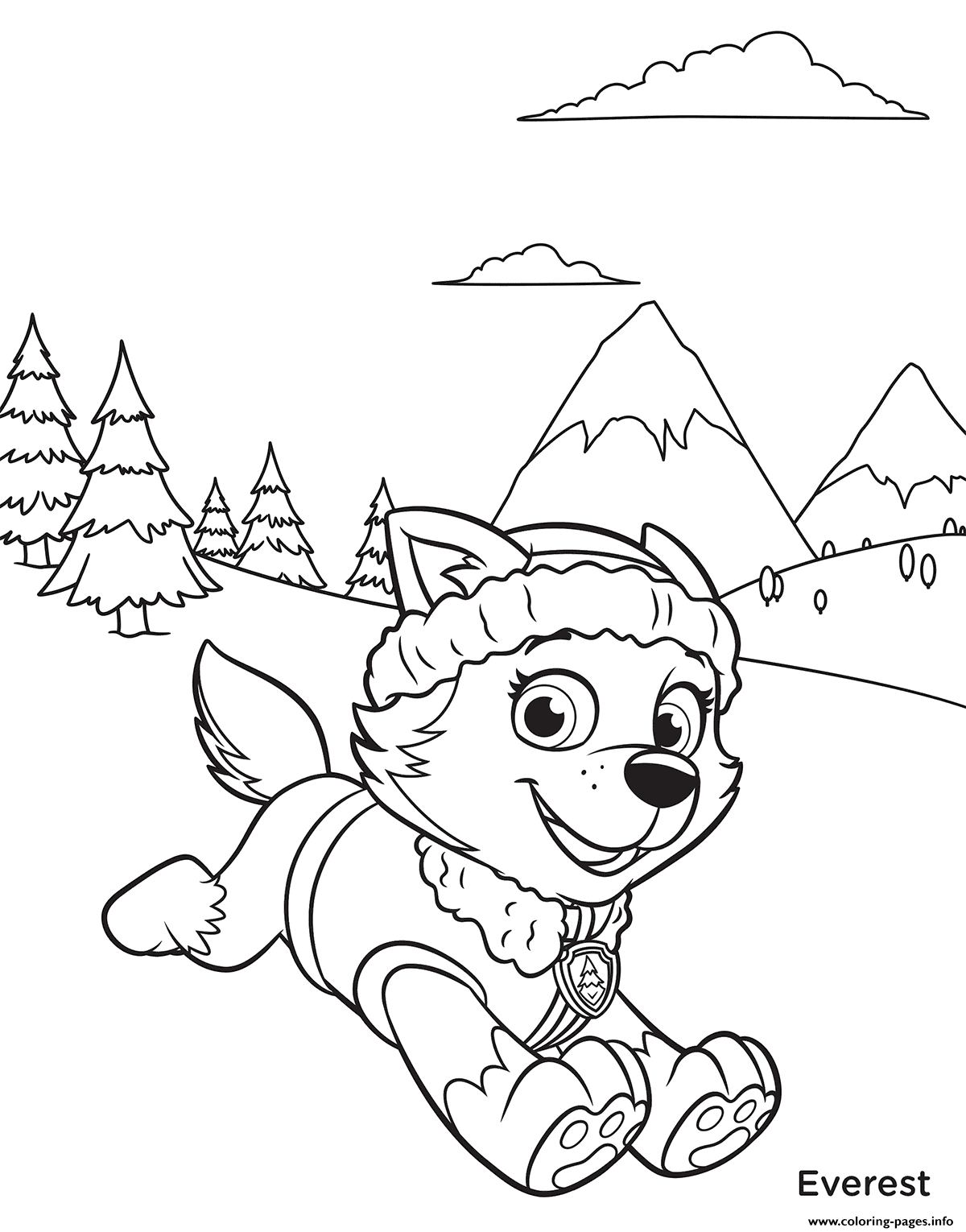 Paw Patrol Everest In Mountains Coloring Pages Printable