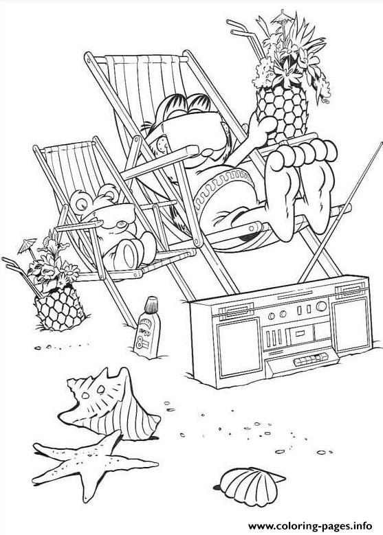 Garfield On The Beach coloring pages