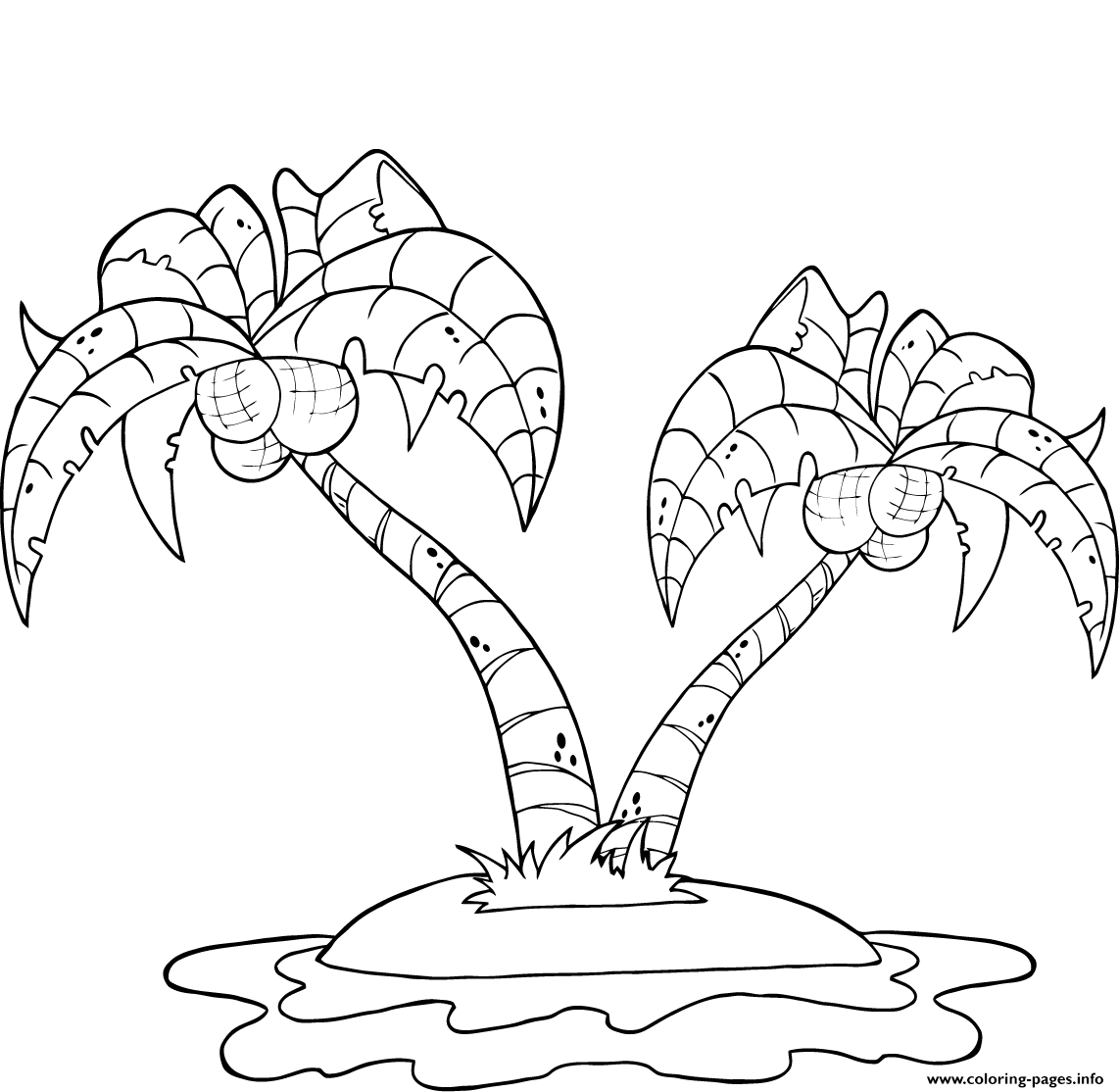 Coconut Palm Trees On Island Coloring Pages Printable