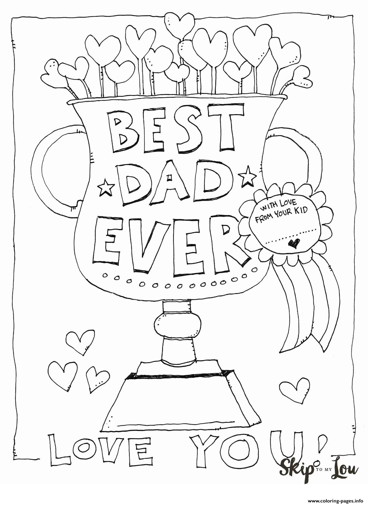 Best Dad Ever Love You Fathers Day coloring pages