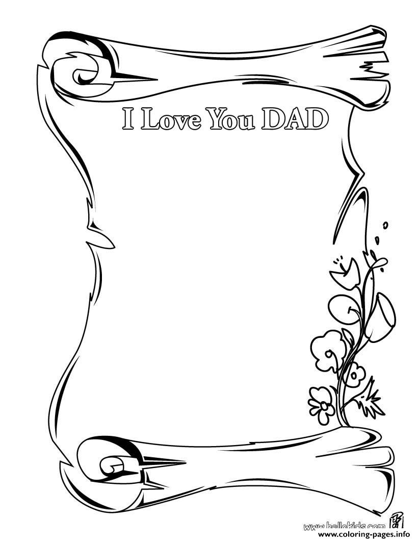 photograph regarding The Father's Love Letter Printable referred to as I Appreciate On your own Father Letter Fathers Working day Coloring Web pages Printable