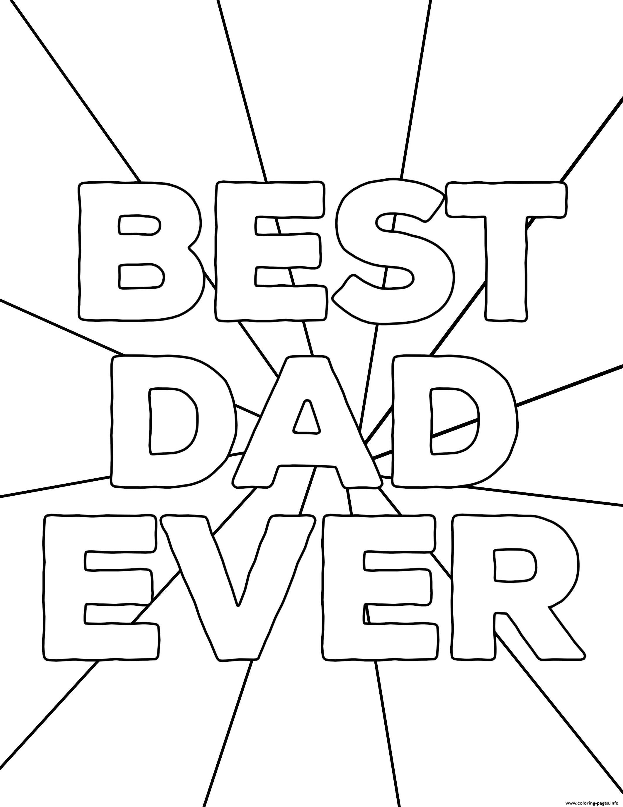 Best Dad Ever Fathers Day Coloring