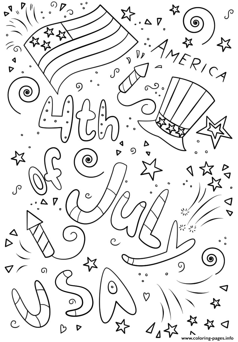 4th Of July Doodle Printable coloring pages
