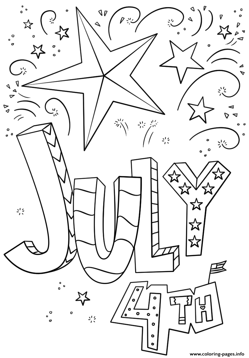 July 4th Doodle Independence Day Coloring Pages Printable