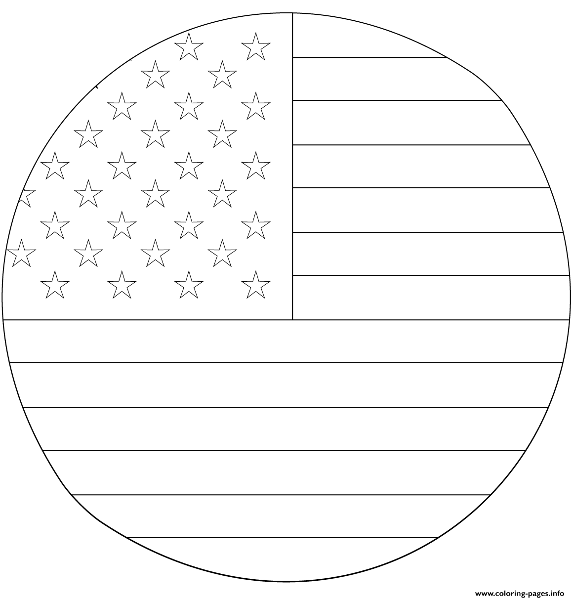 American Flag In Circle Coloring