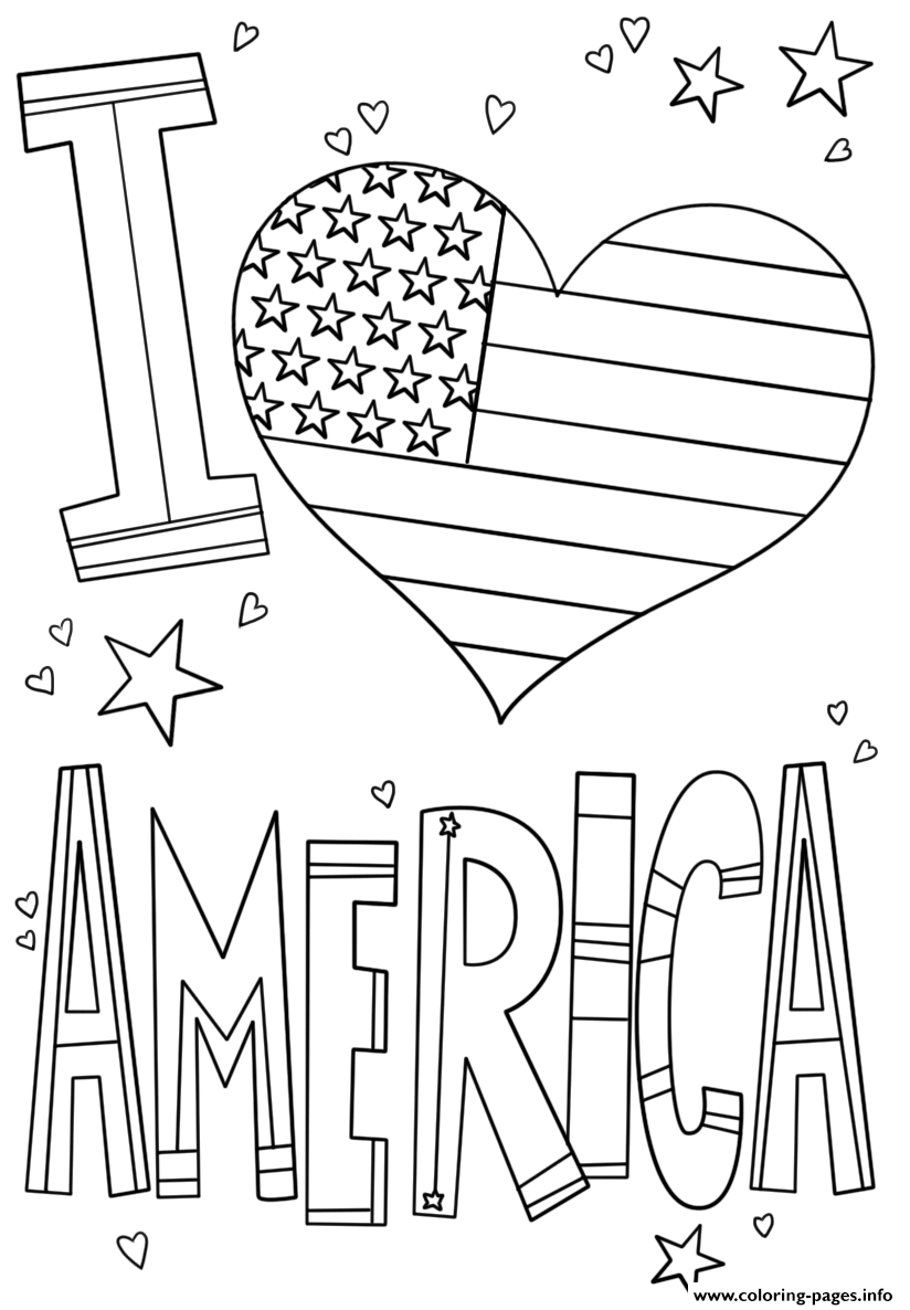 I Love America 4th July Coloring Pages Printable
