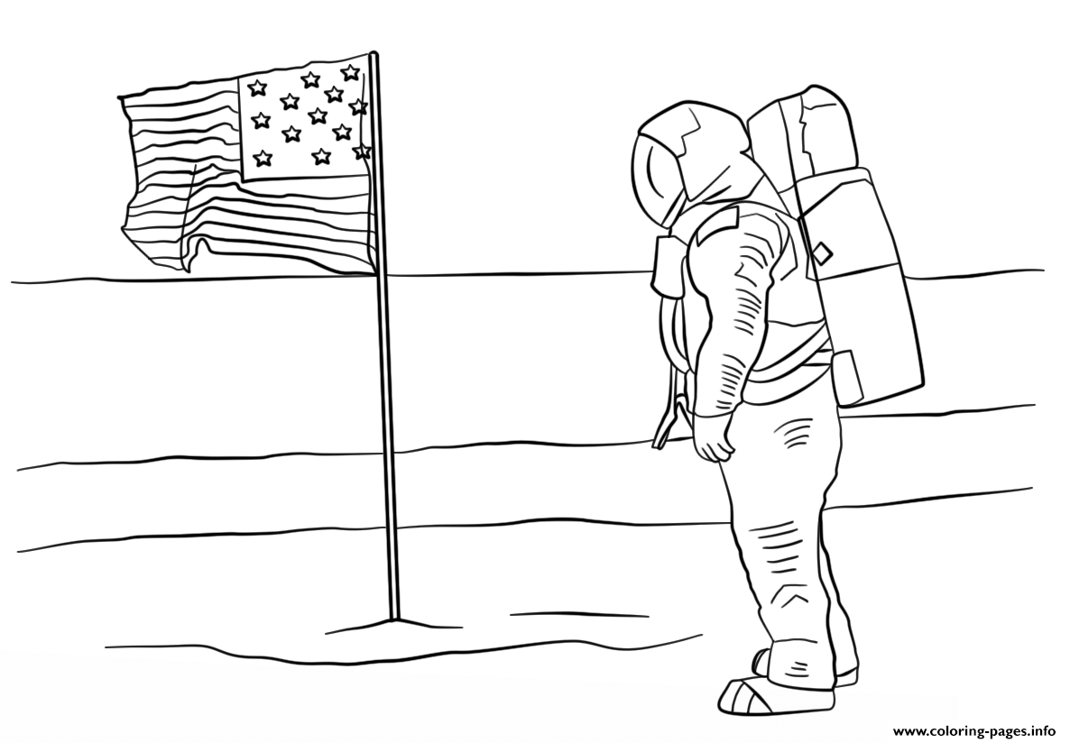 First Man On The Moon Coloring Pages Printable