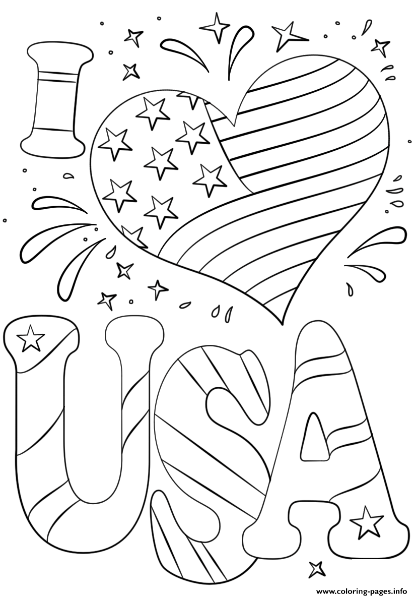 I Love Usa 4th July Coloring Pages Printable
