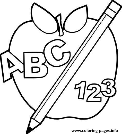 Abc 123 Back To School Apple coloring pages