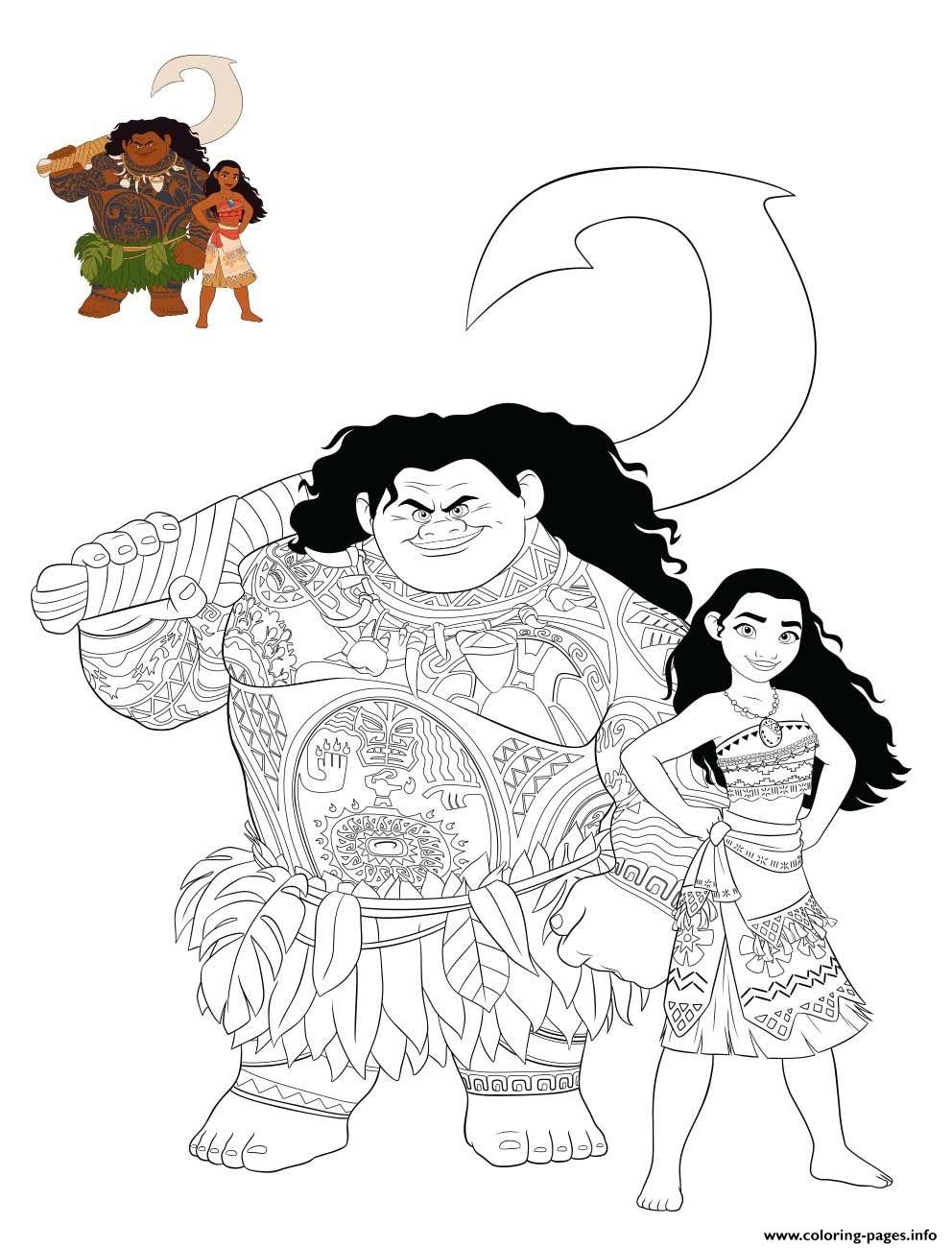graphic relating to Printable Moana titled Moana And Maui Shade Coloring Internet pages Printable