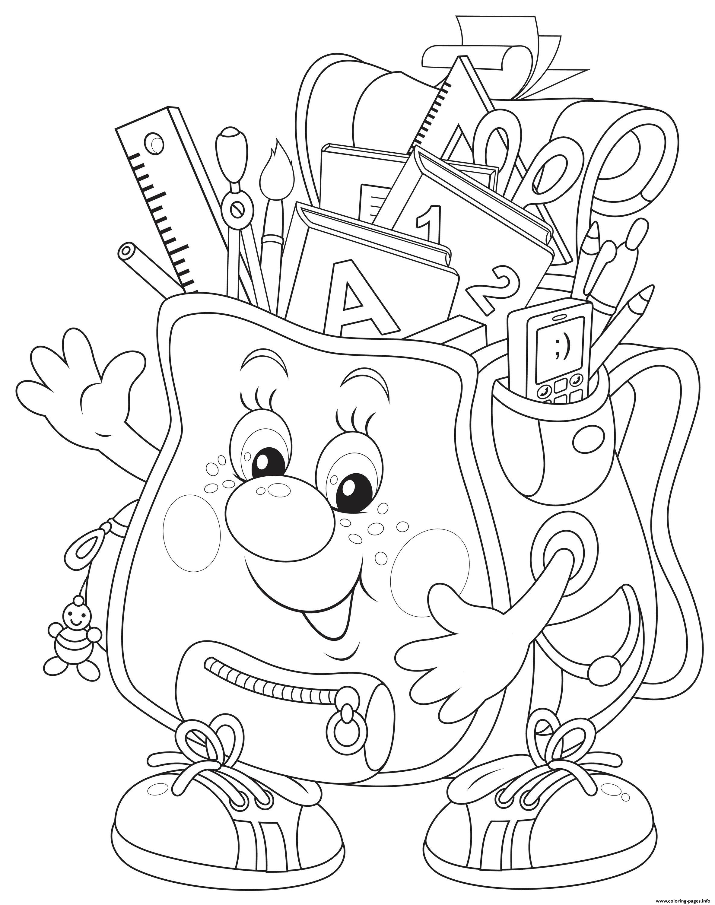 Back To School Bag coloring pages