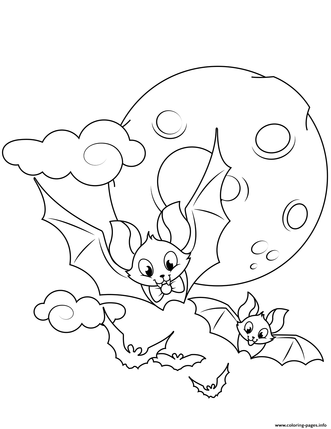 Cute Flying Bats Halloween Coloring Pages Printable