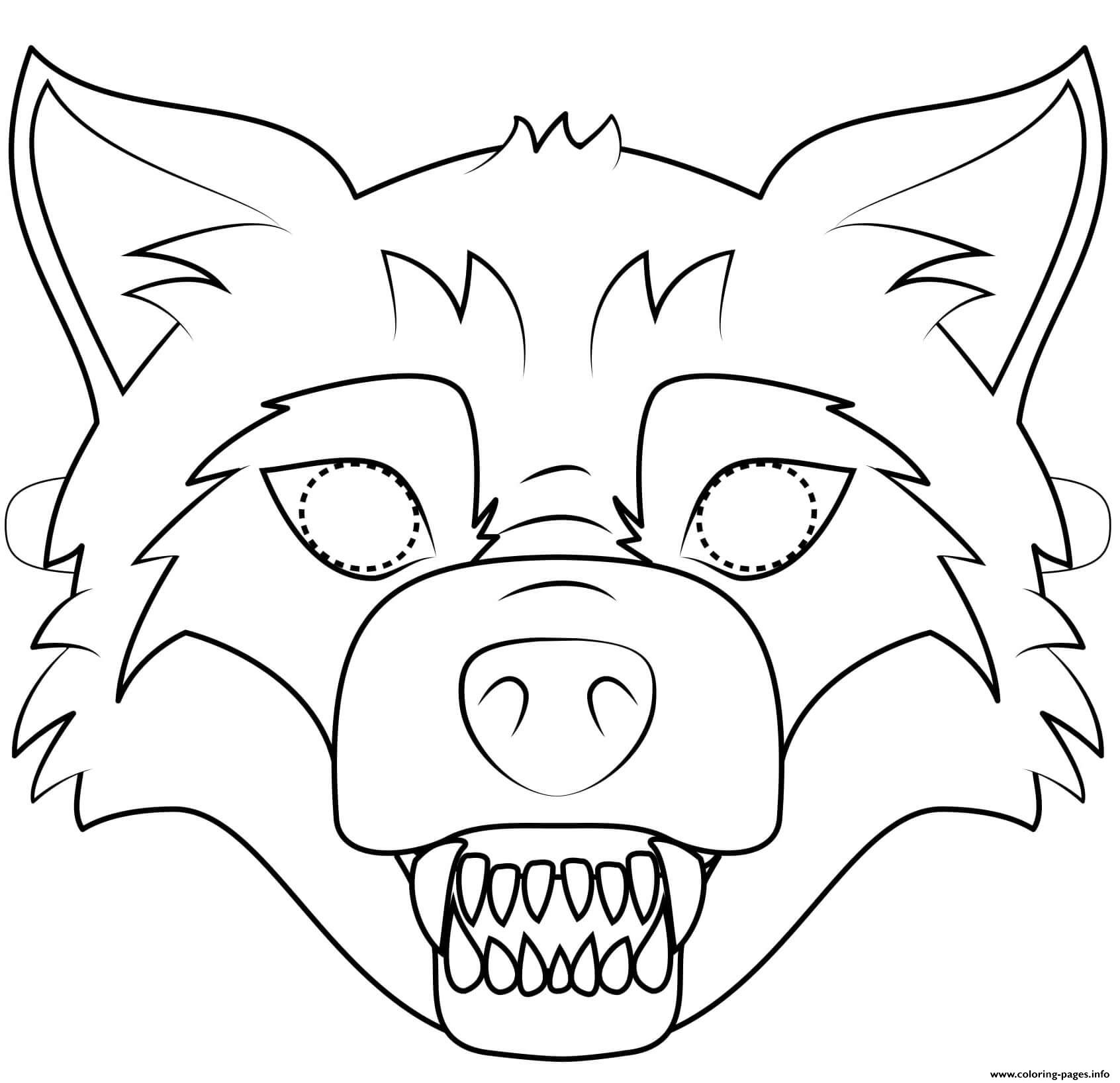 photo regarding Wolf Mask Printable identified as Huge Poor Wolf Mask Define Halloween Coloring Web pages Printable