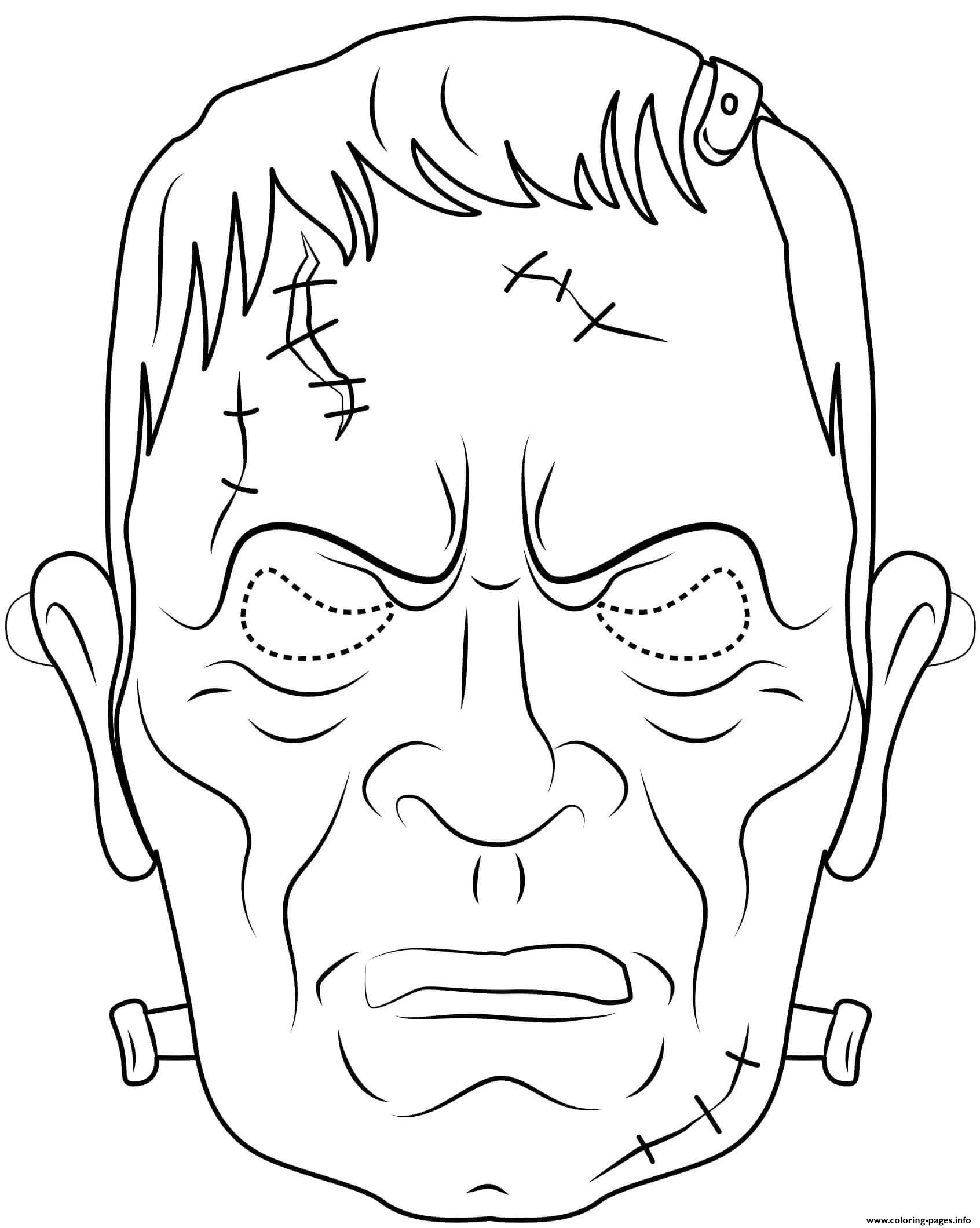 Frankenstein Mask Outline Halloween Coloring Pages Printable
