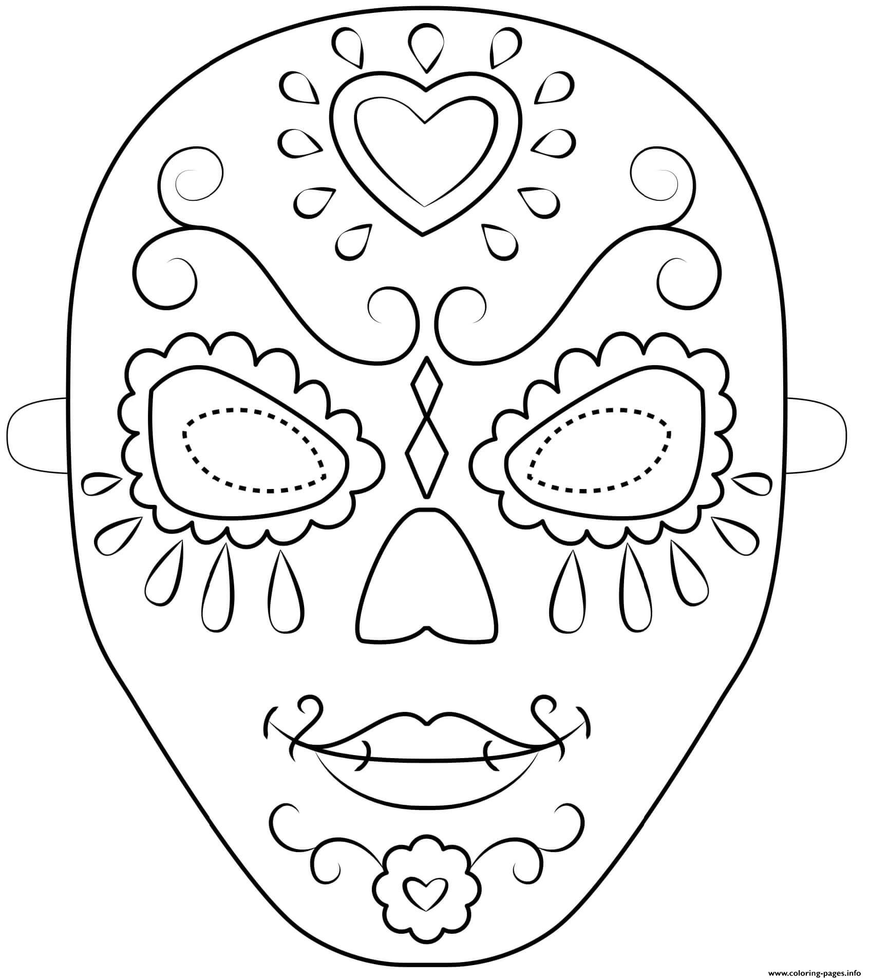 day of the dead mask outline halloween coloring pages printable