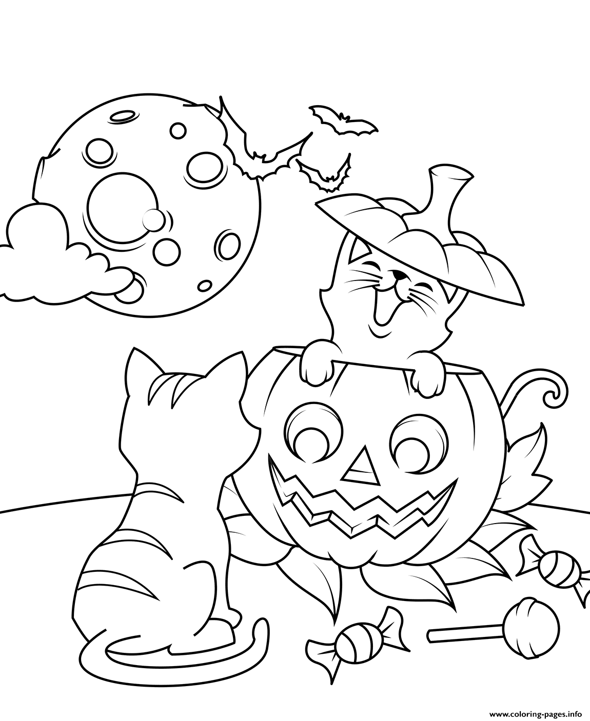 Cats And Jack O Lantern Halloween coloring pages