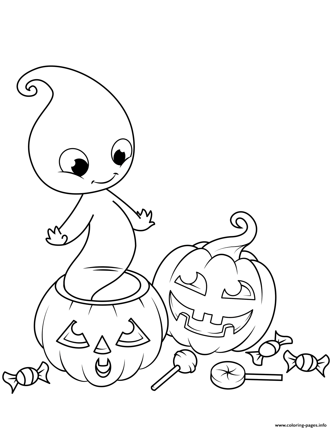 picture relating to Printable Ghost titled Lovely Ghost In opposition to Jack O Lantern Halloween Coloring Web pages