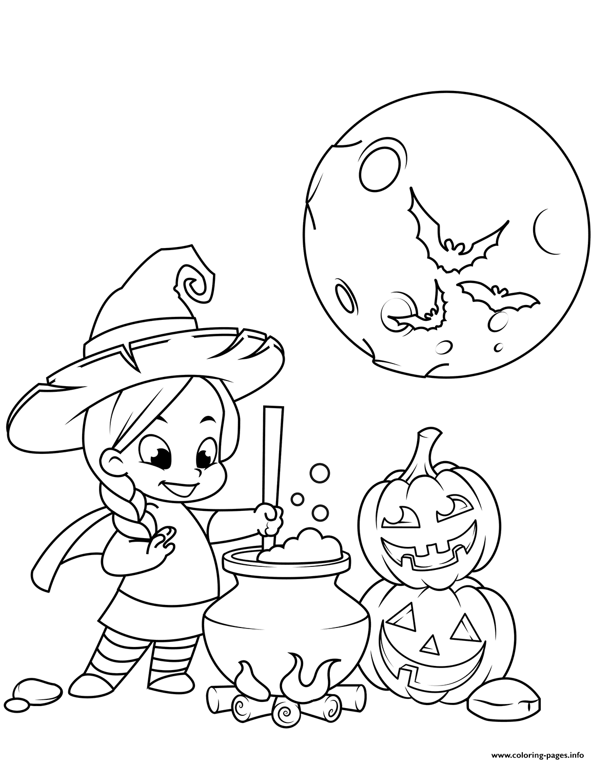 Cute Little Witch Cooking A Potion In A Cauldron Halloween coloring pages