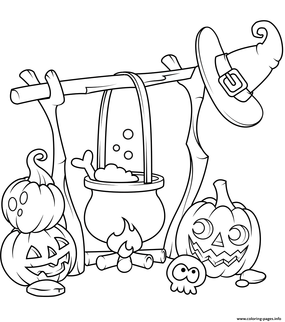 Jack O Lanterns And A Boiling Cauldron Halloween coloring pages