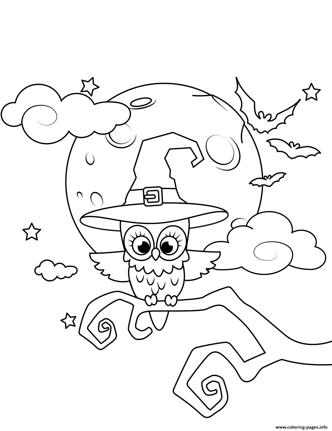 Owl In A Witch Hat Halloween coloring pages