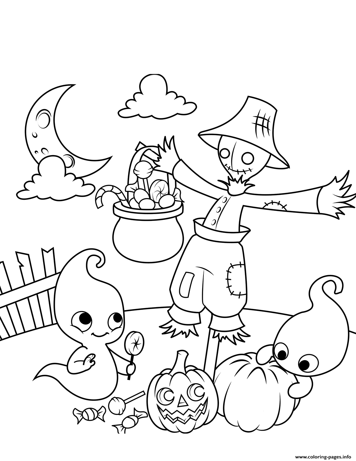 Scene With A Scarecrow And Cute Ghosts Halloween coloring pages